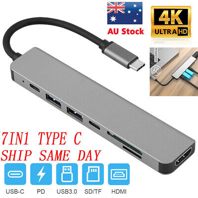 AU27.77 • Buy 7 In 1 Type C USB Hub TF/SD Card Reader Multiport Adapter 4K HDMI For Macbook AU
