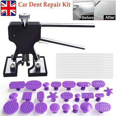 UK Car Paintless Dent Puller Lifter Removal Kit 24 Tabs 10 Glue Sticks PDR Tools • 15.99£