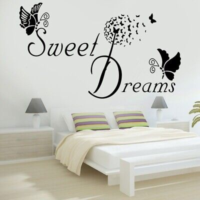 Wall Stickers Butterfly Bedroom Removable Decals DIY SWEET DREAMS LOVE Quote • 3.65£