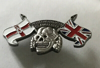 Rare Chelsea Supporter Headhunter Hooligan Firm Enamel Badge Skull Design • 4.99£