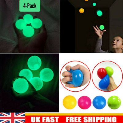 4X Fluorescent Sticky Wall Balls For Stress Relief Reliefer Globbles Squishy Toy • 2.95£