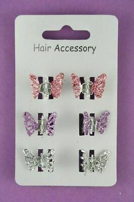 £2.25 • Buy Small Glitter Butterfly Hair Clips - Pack Of 6 A166