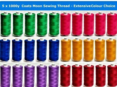 £6.99 • Buy COATS MOON TKT120 PACK OF 5 REELS 1000y  POLYESTER SEWING, OVERLOCKING  THREAD