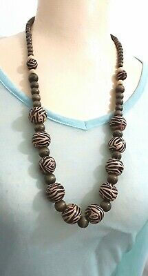 Costume Jewellery Long Brown Wood Bead Necklace N444 • 3.50£