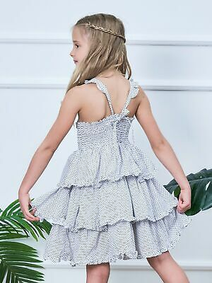 Happy Princess Summer Polka Dot Tiered Dress Kids Dress For 3-12 Year Old Girls • 19.39£