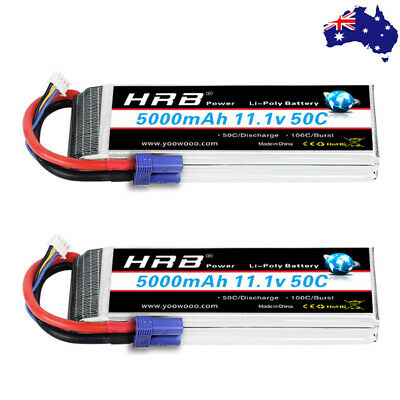 AU113.84 • Buy 2pcs HRB 11.1V 5000mAh 3S LiPo Battery 50C For RC Drone Car Airplane Boat EC5 AU