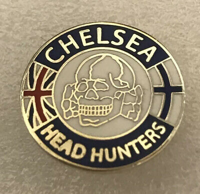 Rare Chelsea Supporter Headhunter Hooligan Firm Enamel Badge Skull Design (A) • 4.99£