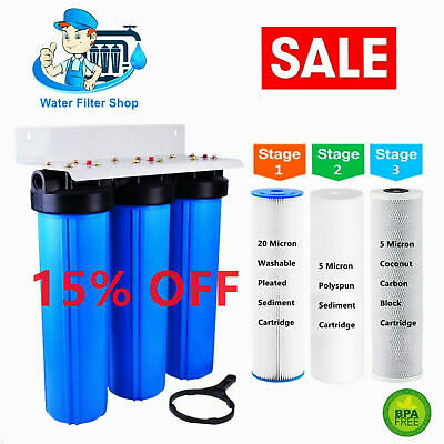 AU159.95 • Buy 20  X 4.5  Big Blue Twin Whole House Water Filter System (2 Stages) 1  Port