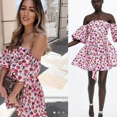 AU145 • Buy BNWT ZARA Pink Red Roses Floral Off Shoulder Summer Dress Size S XS Small 6 8