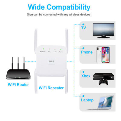 AU39.53 • Buy 2.4G/ 5Ghz WiFi Repeater 1200Mbps WIFI Range Extender Wifi Signal Booster