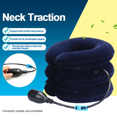 AU15.99 • Buy Air Inflatable Pump Neck Pillow Traction Support Device Pain Relief Collar Brace