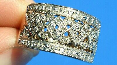 Heavy  Antique Art Deco Natural Diamond 9k Gold Ring • 175£