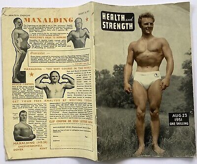 Vintage HEALTH AND STRENGTH Mens Bodybuilding Magazine Aug 1951. GAY INTEREST • 3.99£
