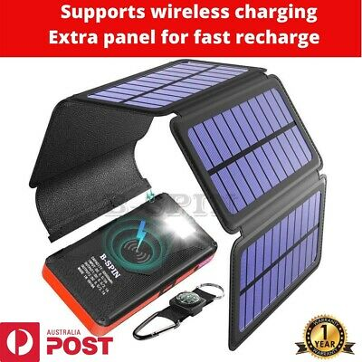 AU79.99 • Buy Solar Power Bank Waterproof  Wireless  30000mAh  QI Fastest Charger 2 USB Port