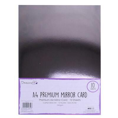 Dovecraft Premium A4 Mirror Card 10 Sheets 240GSM Gun Metal Grey • 3.75£