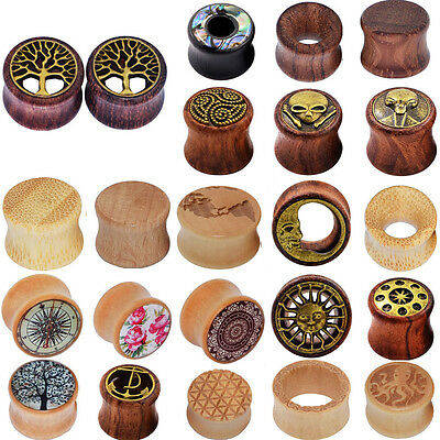 $7.59 • Buy Pair Organic Natural Wood Ear Gauges Plugs Flesh Tunnels Double Flared Earring