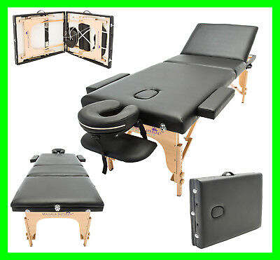 £99.98 • Buy 3-section Black Portable Massage Table Bed Spa Tattoo Couch Beauty Therapy Salon