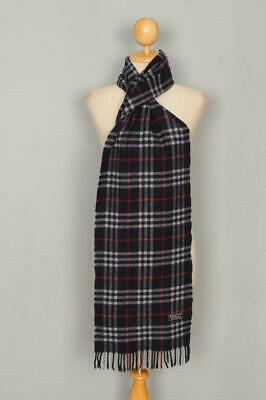 Vintage Burberrys Scarf Navy Check Lambswool Authentic • 35£