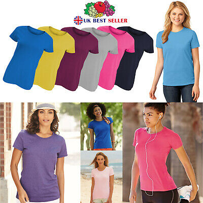 £3.99 • Buy Womens Plain T-Shirts Ladies Fruit Of The Loom Coloured Cotton Fitted Tee Shirt