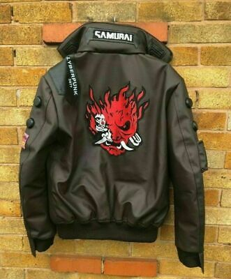 $ CDN183.95 • Buy Cyberpunk 2077 Costume Jacket New Style Mens Brown Leather Embroidery Jacket