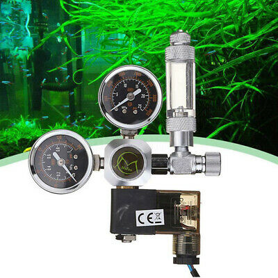 Aquarium Fish Tank CO2 Regulator Dual Gauge Bubble Counter Solenoid Valve UK • 35.24£