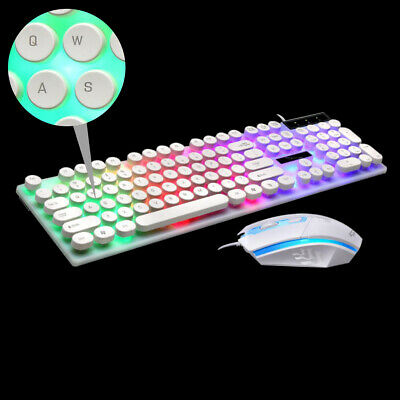 AU33.82 • Buy Mechanical USB Wired Gaming Keyboard And Mouse Combo Round Keycaps LED Backlit