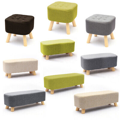 Upholstered Padded Linen Footstool Bench Chair Makeup Wood Legs Bedroom Footrest • 23.95£