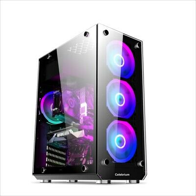 Fast Cheap Gaming PC Case Tempered Glass Edition, 6x RGB Fans, USB 3.0 Black • 64.99£
