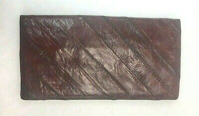 $19.99 • Buy Thin Red Genuine Eel Skin Folding Wallet - Excellent Condition - 7 1/4  X 3 1/4