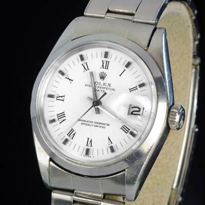 $ CDN4129.45 • Buy Mens Vintage ROLEX Oyster Perpetual Date 34mm White Dial Stainless Steel Watch