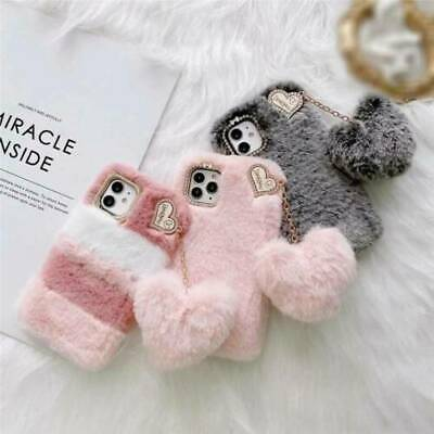 AU13.99 • Buy For IPhone 12 Pro 11 X XR 8 Plush Fluffy Phone Case Cover Warm Heart Girls Soft