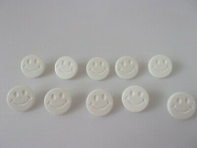 £2.25 • Buy 10 White Smiley Happy Faces Novelty Buttons 15mm Baby Children G21