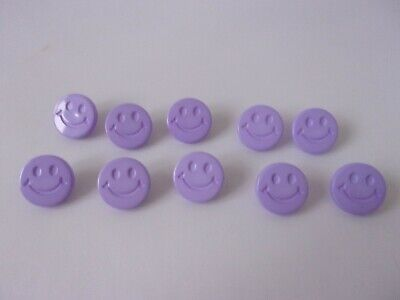 $3.11 • Buy 10 Lilac Smiley Happy Faces Novelty Buttons 15mm Baby Children H56