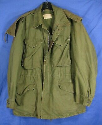 $61.20 • Buy VTG US ARMY M51 GREEN FIELD JACKET Utility W/Hood SEVERAL STAINS WWII?KOREA? S-R
