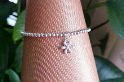 £2.99 • Buy Womens Silver Plated Ball Bead Stretchy Stacking Daisy Flower Bracelet , Gift