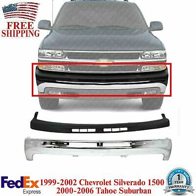 $260.71 • Buy Front Bumper Chrome Steel + Upper Cover For 99-02 Chevy Silverado / 00-06 Tahoe