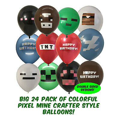 AU19.99 • Buy 24pcs Minecraft Balloons Birthday Party Decorations