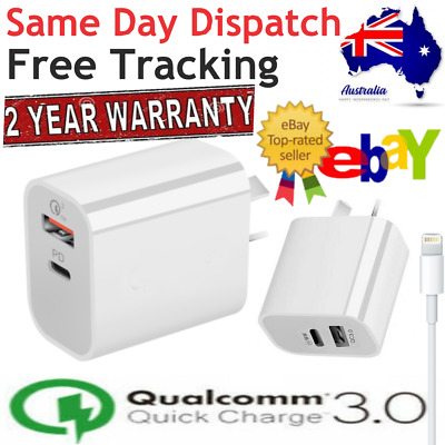 AU14.99 • Buy 18W USB-C PD Fast Wall Charger Adapter Charger For IPhone 12 11 Cable Data Cord