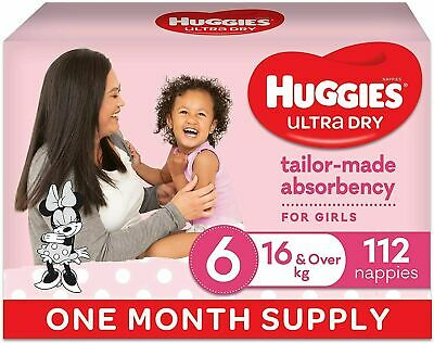 AU70 • Buy Huggies Junior Ultra Dry Nappies Size 6 For Girls Of 16 & Over Kg  X 112 Count