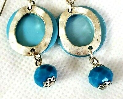 $ CDN25.36 • Buy Lia Sophia Out To Sea Blue Abalone Shell & Silver Dressy Dangle Pierced Earrings