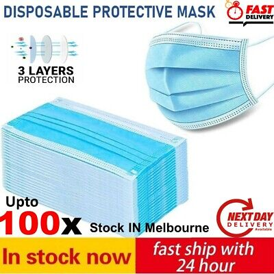 AU16.91 • Buy UPTO 100pcs Disposable Face Mask Surgical Grade CE Anti Bacterial 3 Layer Filter
