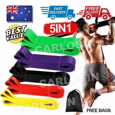 AU29.85 • Buy 5pcs Set Heavy Duty Resistance Yoga Bands Loop Home Workout Gym Fitness Exercise