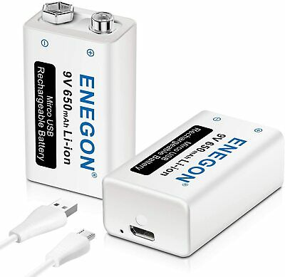 AU37.55 • Buy ENEGON 9V Direct USB Rechargeable Lithium-ion Battery With 2 In 1  2 Pack