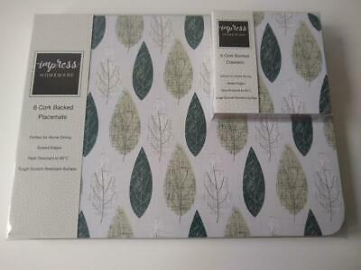 £18.99 • Buy Set Of 6 Grey Leaf Leaves Placemats & Coasters Dining Dinner Table Mats