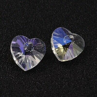£1.85 • Buy 10 X Crystal Glass Faceted Clear Heart AB Pendant Charms 10mm