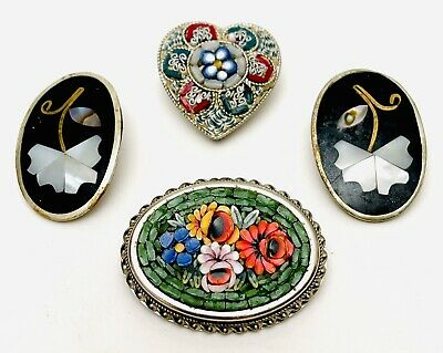 $ CDN63.11 • Buy Vintage Micro Mosaic Jewelry Collection Lot Brooches Pins Clip-On Earrings Italy