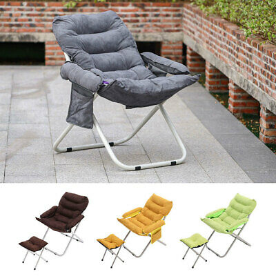 £69.95 • Buy Portable Couch Adjustable Recliner Cushioned Armchair Moon Chairs With Footstool