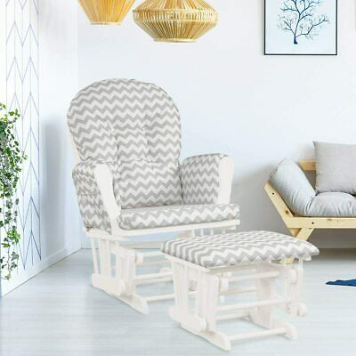 Nursing Maternity Chair & Footstool Reclining Storage Pockets Wood Rocking Chair • 272.56£