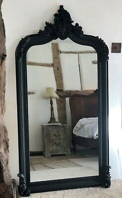 £249 • Buy Gothic Quality Large Matt Black French Arch Period Over Mantle Wall Mirror 5ft