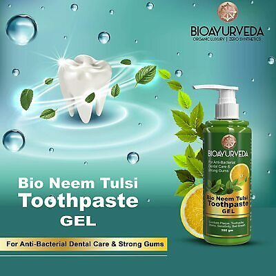 🇬🇧 200ml **Organic Herbal Anti-Bacterial Neem Tulsi Basil Toothpaste GEL Teeth • 10.99£